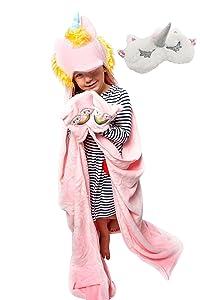 Aloha Cozy Unicorn Blanket for Girls | Unicorn Throw Blanket for Girls Set | Unicorn Eye Mask and Unicorn Hoodie for Girls | Smooth and Soft | Premium Quality | Best for Gift