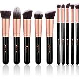 BESTOPE 10 Stück Professionelle Makeup Pinsel Lackierter Echtholzstiel Synthetisches Haar Pinselset Anzüge für Berufsverfassungs oder Ausgangsgebrauch mit Aufbewahrungstasche