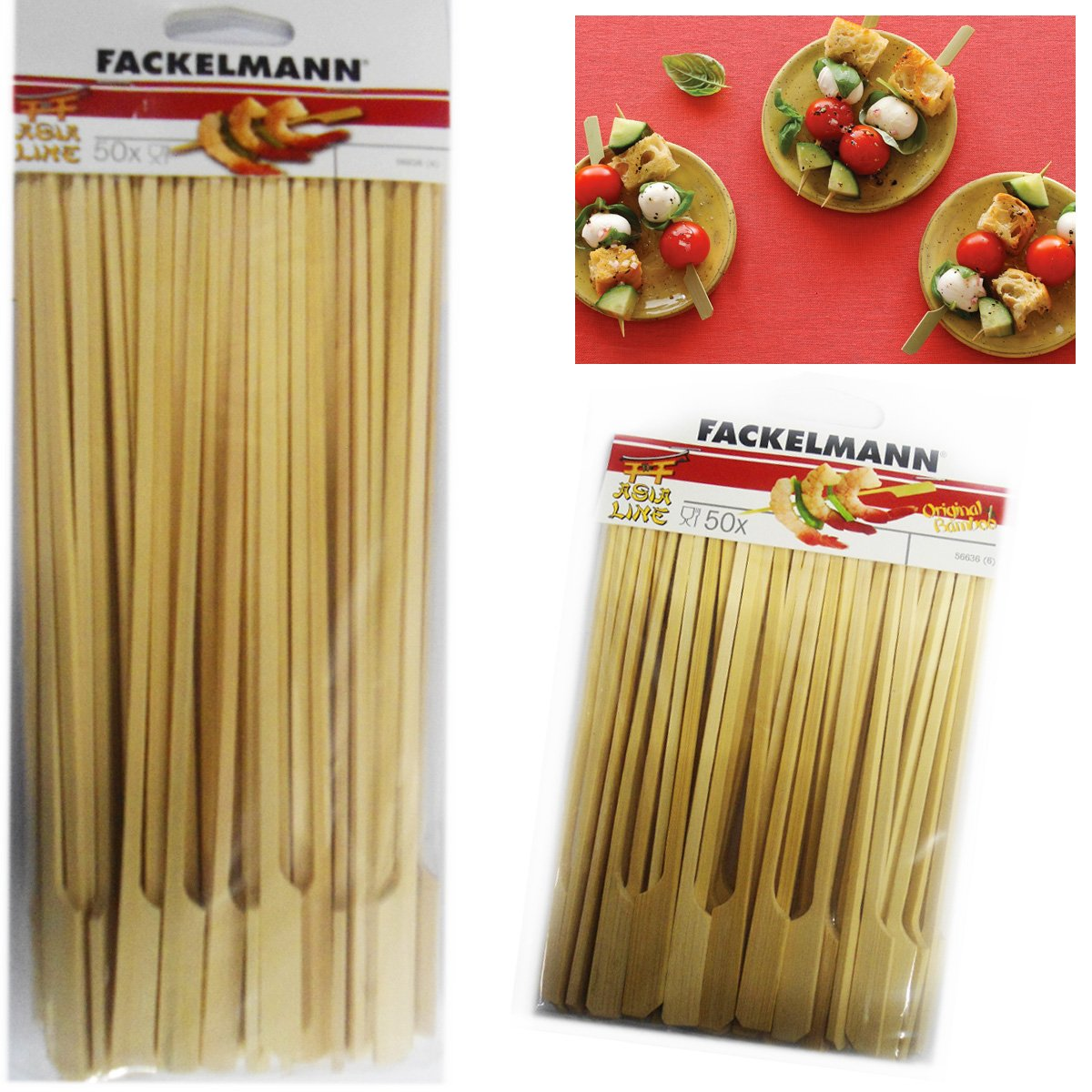50 Bamboo Skewers Paddle Sticks Wooden Grill Kebab Barbeque Party Stick 15CM Pack by Fackelmann