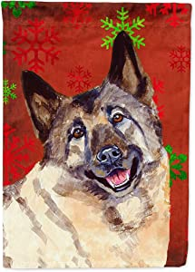 Caroline's Treasures LH9353GF Norwegian Elkhound Red and Green Snowflakes Holiday Christmas Flag Garden Size, Small, Multicolor