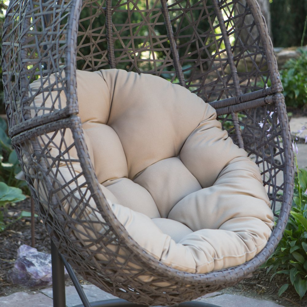 Resin Wicker Hanging Egg Chair Outdoor Patio Furniture with Cushion and Stand, Steel Frame, Espresso by Island Bay (Image #3)
