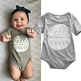 Newborn Baby Boys Girls Bodysuit Hello I'm New Here Printed Romper