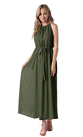 57f68dd7bf1c Women s Keyhole Halter Maxi Dress Casual Plain Cocktail Long Dresses Army  Green