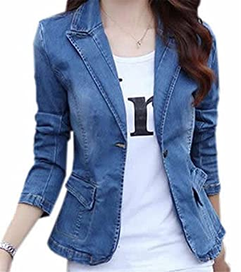 e5619018ce4 labaqiangj Womens Turndown Collar Button Down Blazer Denim Jacket at Amazon Women s  Clothing store
