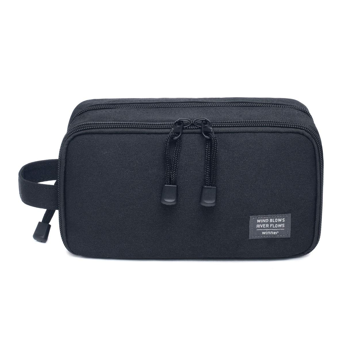 JORYEE Men s Toiletry Bag, Canvas Waterproof Travel Dopp Kit Bag Accessories Organizer Black