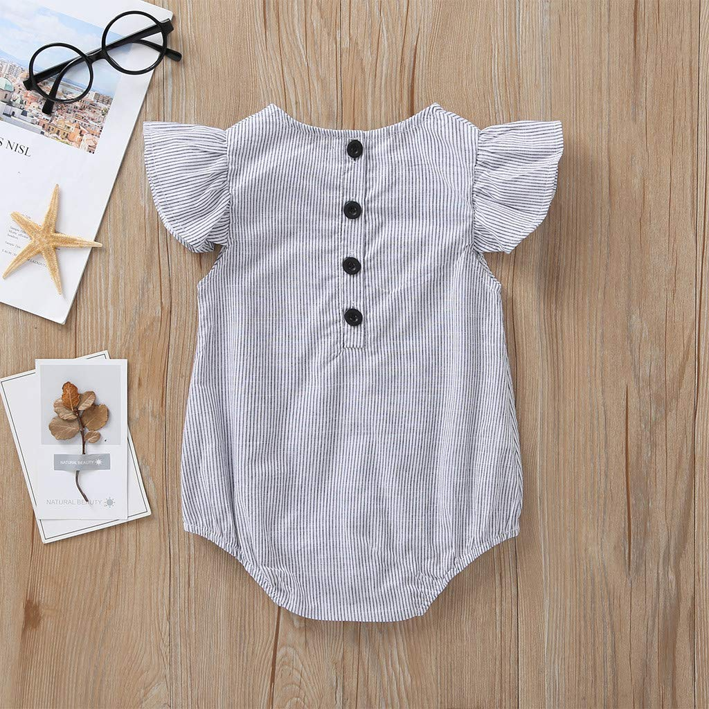 0-2Years,SO-buts Summer Infant Baby Girls Ruffle Sleeveless Button Stripe Romper Bodysuit Clothes Jumpsuit
