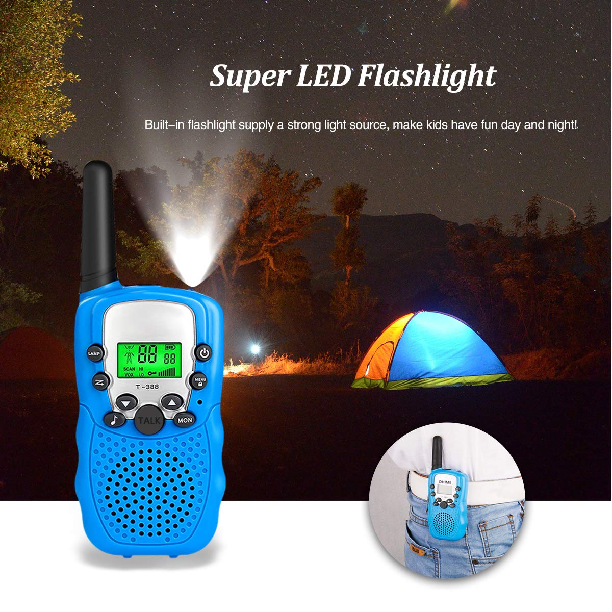 Outdoor Toys for 5-10 Year Old Boys Girls Pussan Kids Walkie Talkies 3 Pack Long Range 2 Miles 22 Channels Kids Camping Outside Summer Games Walky Talky for Children Gifts by Pussan (Image #6)