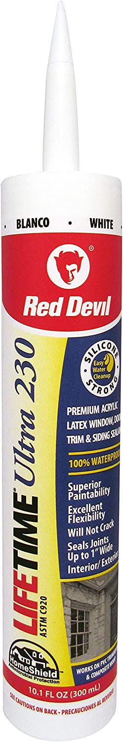 Red Devil 0770 Lifetime Ultra Premium Elastomeric Acrylic Latex Sealant, White, 10.1 Oz