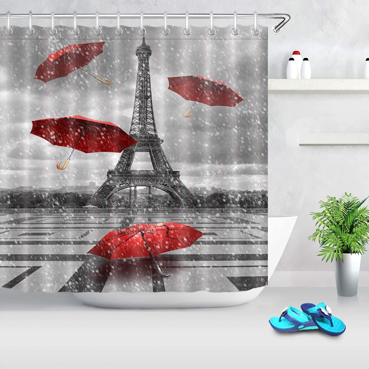 LB Paris Shower Curtain Vintage Raining France Eiffel Tower with Red Umbrella Shower Curtain Waterproof Fabric Bathroom Decor with Hooks,72 x 72 Inch