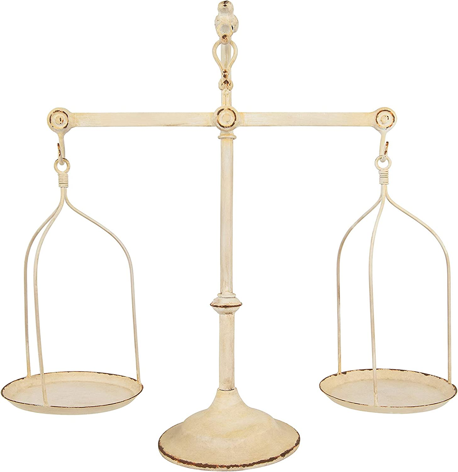 Creative Co-op Decorative Distressed Vintage Metal Scale with Bird Finial,  Cream