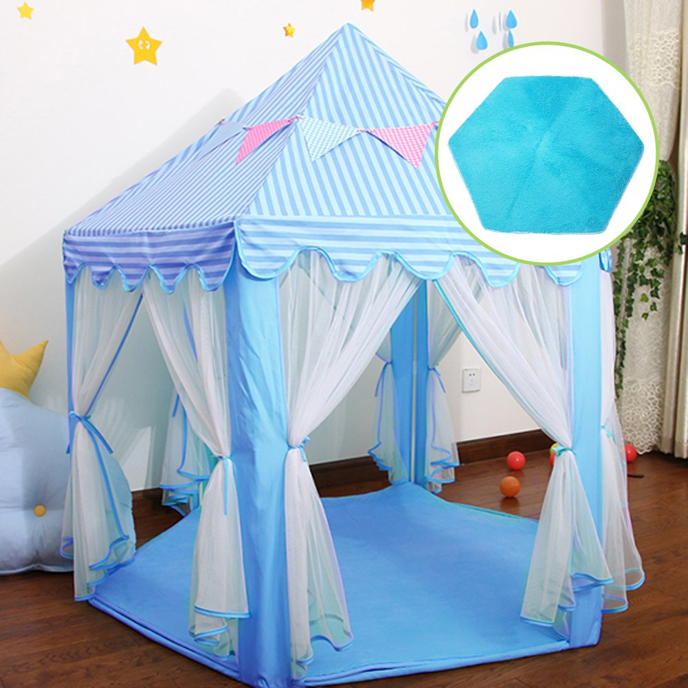 Junovo Ultra Soft Rug for Nursery Children Room Baby Room Home Decor Dormitory,Hexagon Carpet for Playhouse Princess Tent Kids Play Castle,Diameter 55-inch,Pink