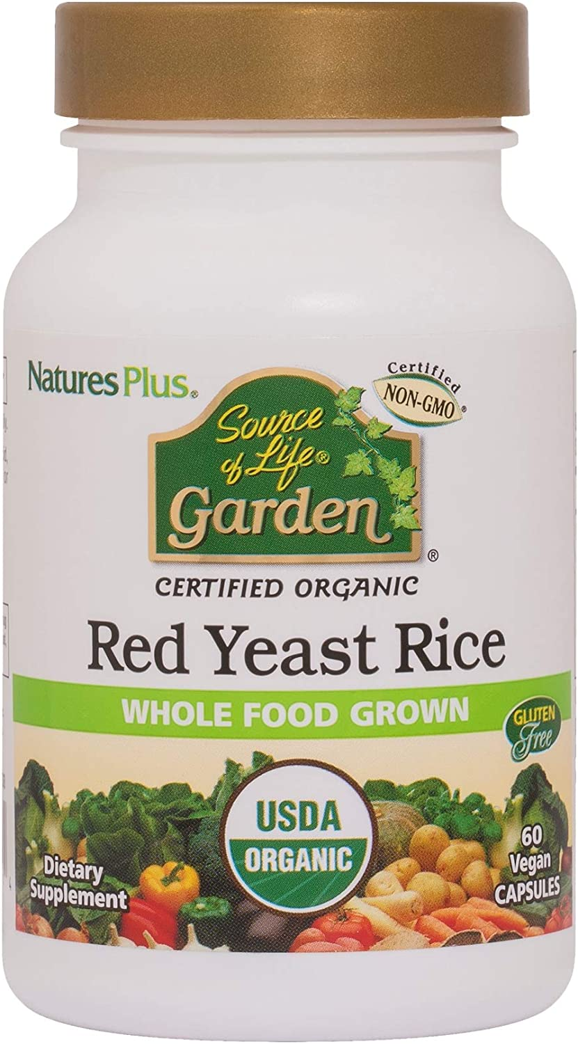NaturesPlus Source of Life Garden Certified Organic Red Yeast Rice - 600 mg, 60 Vegan Capsules - Nutritional Support For Overall Well-Being - Vegetarian, Gluten-Free - 60 Servings