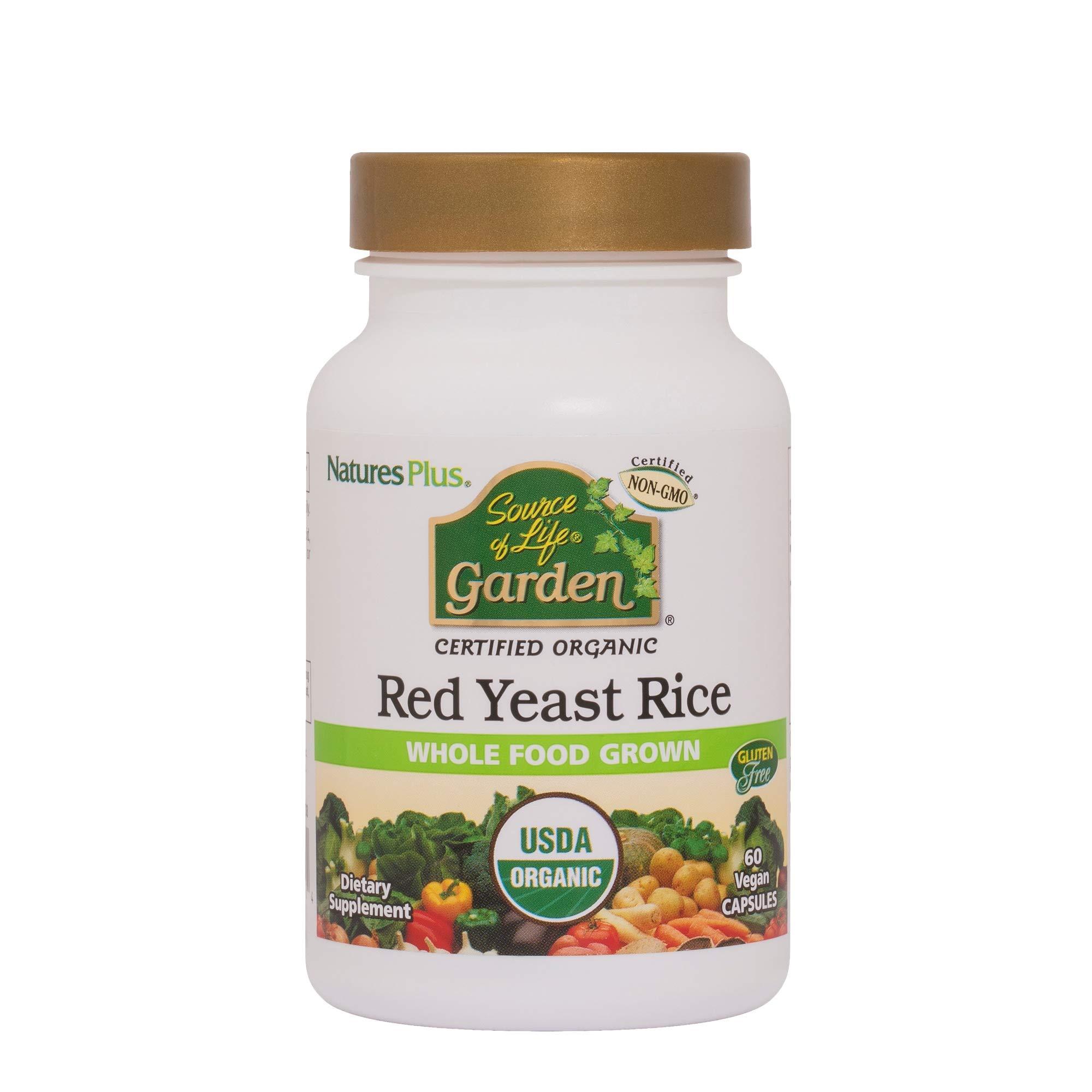 Natures Plus Source of Life Garden Red Yeast Rice - 600 mg, 2.5% Monacolins, 60 Vegan Tablets - USDA Certified Organic Herbal Supplement - Vegetarian, Gluten Free - 60 Servings