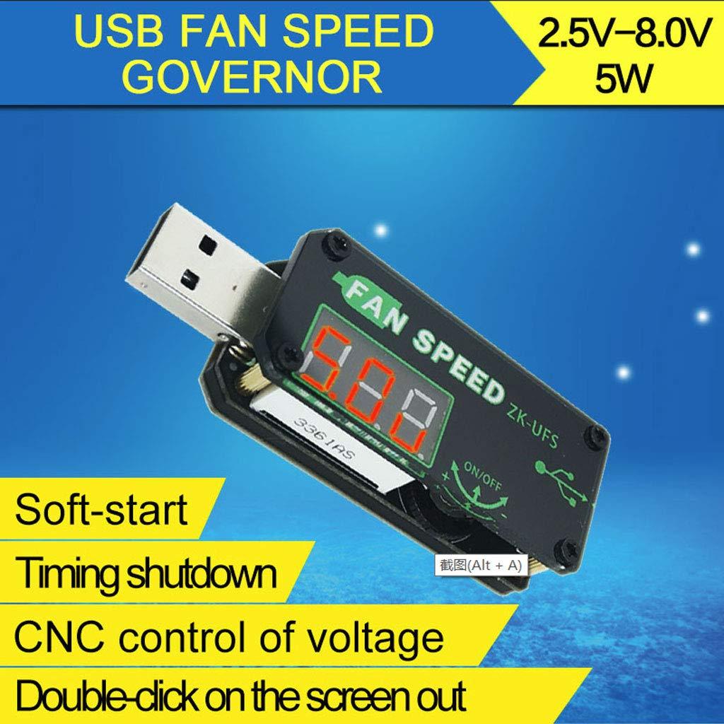 5V 5W Ventilador USB Controlador de Velocidad Regulador de Ajuste Temporizador M/ódulo de atenuaci/ón Voltaje Refrigeraci/ón Ajustable Sin Carcasa Dormitorio de Oficina para autom/óvil WINJEE