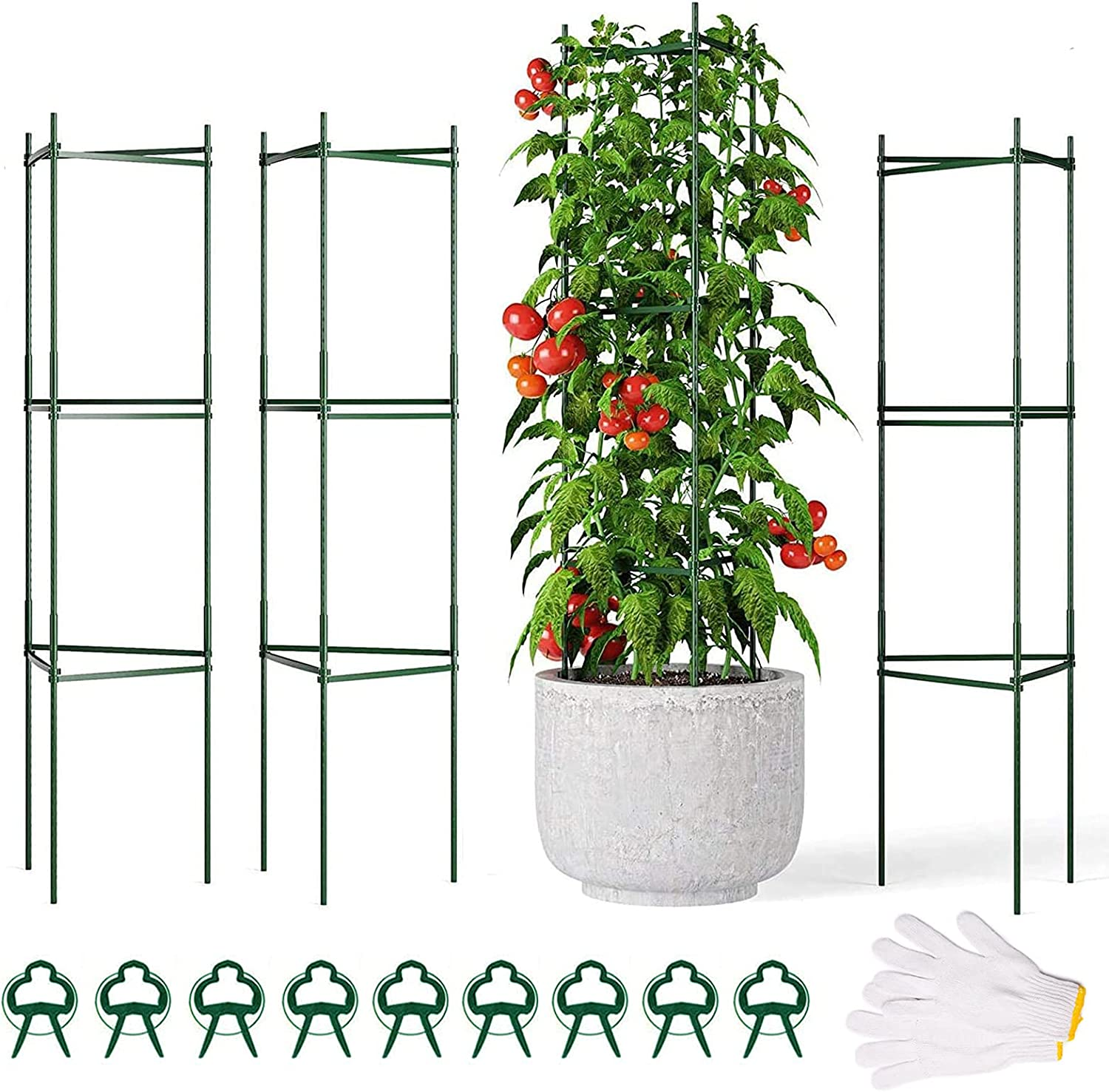 """Outopest Tomato Cage, 3 Pack Plant Support Cages with 9Pcs Clips and A Pair of Gloves, 47""""Assembled Tomato Chili Rose Plant Cage, Steel Core Stakes Trellis for Garden and Vertical Climbing Plants"""