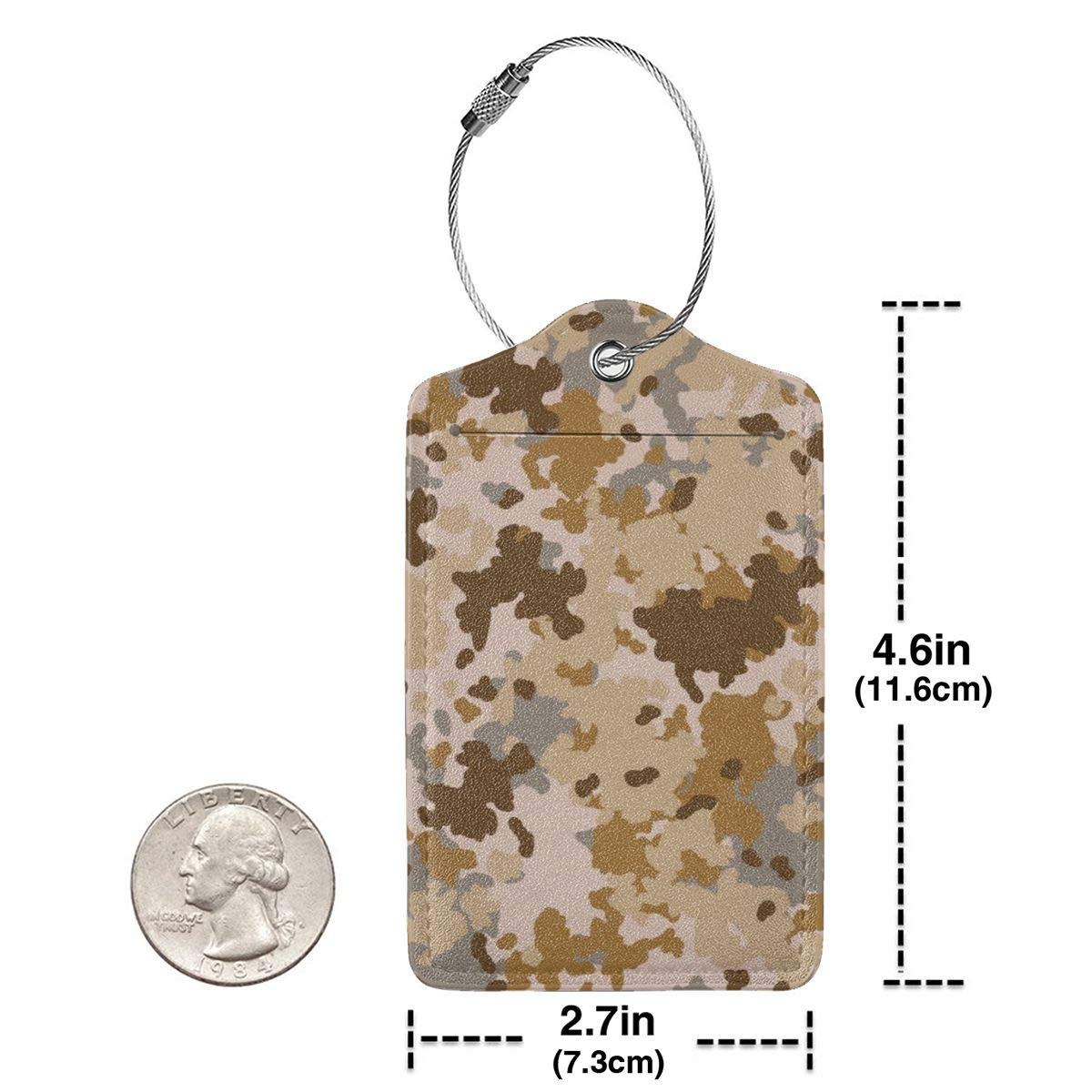 Forest Camouflage Pattern Travel Luggage Tags With Full Privacy Cover Leather Case And Stainless Steel Loop