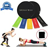 Resistance Loop Bands and Core Sliders Dual Sided Gliding Discs for Hardwood Floors or Carpet 5 Exercise Bands for Legs and Butt Gym Home Workout Carry Bag