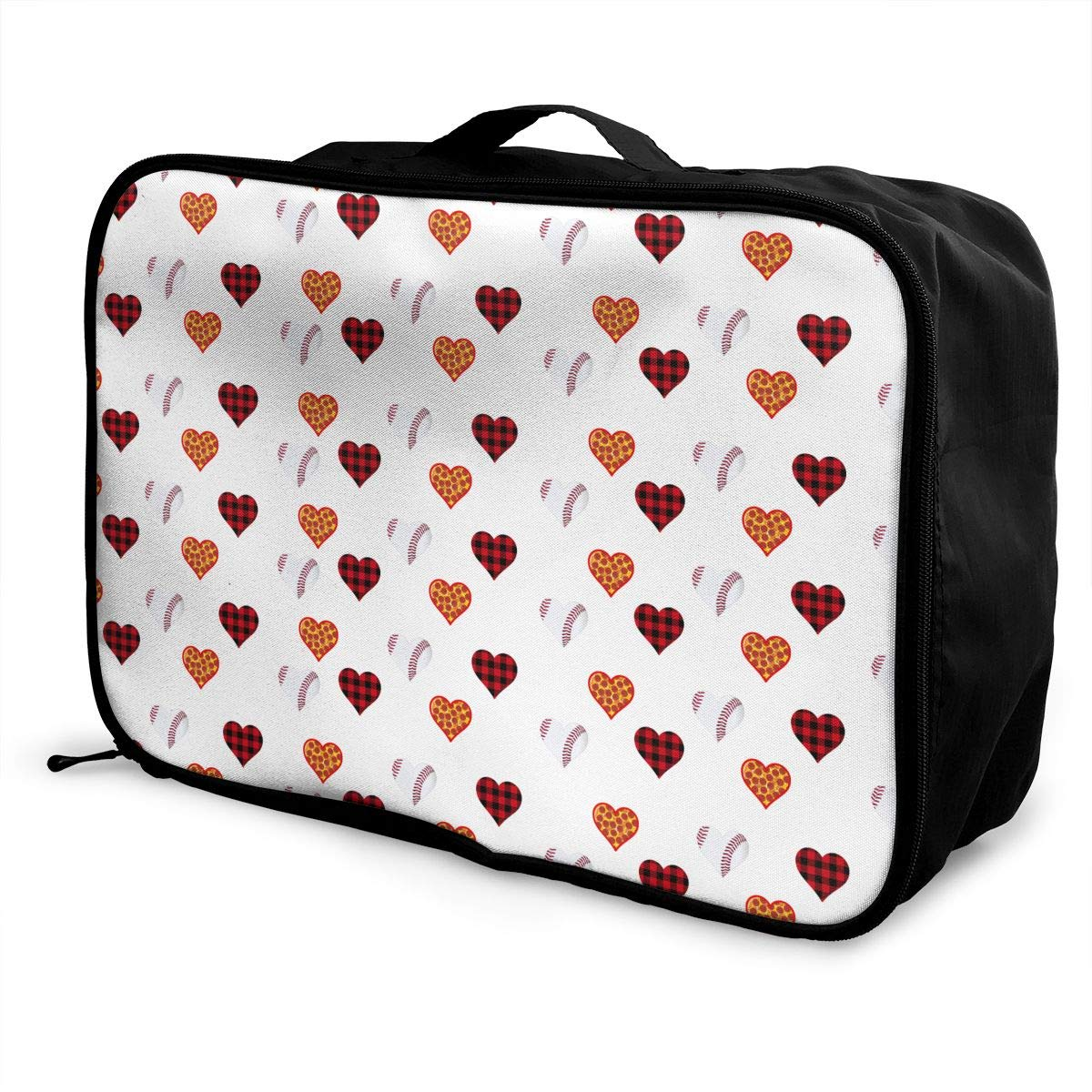 Lightweight Large Capacity Duffel Portable Luggage Bag Plaid Pizza Baseball Heart Travel Waterproof Foldable Storage Carry Tote Bag