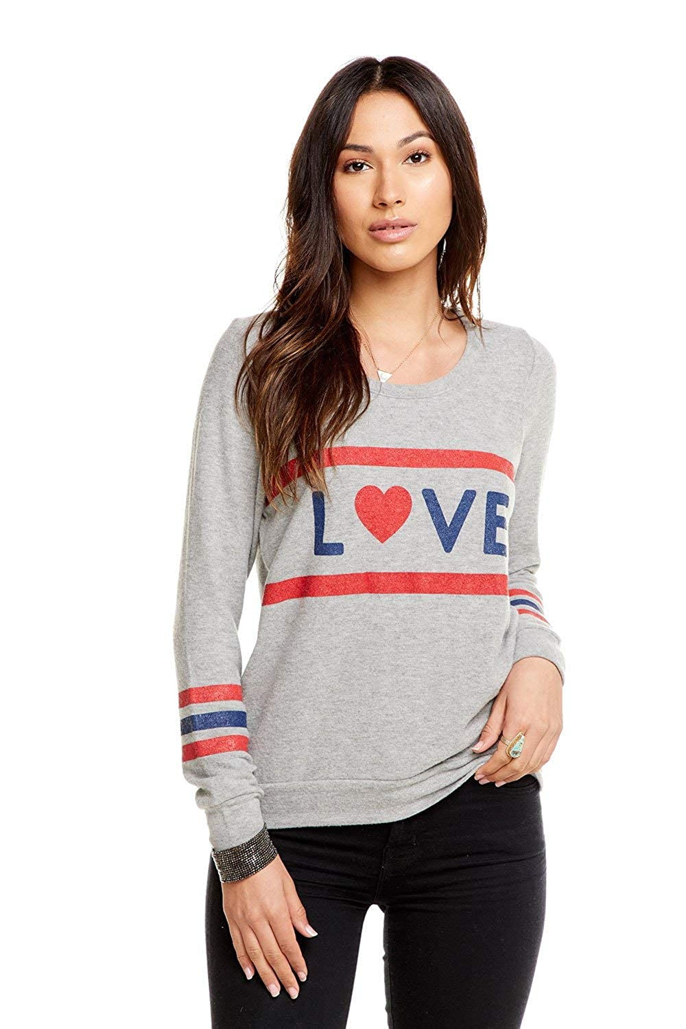 CHASER Womens Love Knit Triangle Open Back Long Sleeve Pullover