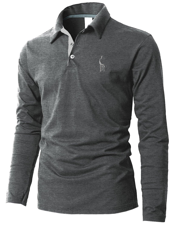 Boom Fashion Semplice Classico polo Uomo manica lunga Slim Fit Maglie a poloshirt UUSIT091401