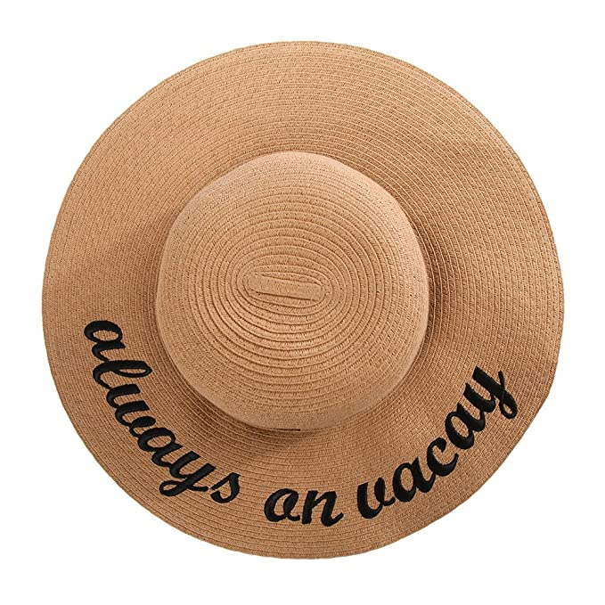 189e949cceb Jeff   Aimy Ladies Straw Sun Hats for Women Floppy UPF Beach Accessories  Pool Derby Summer