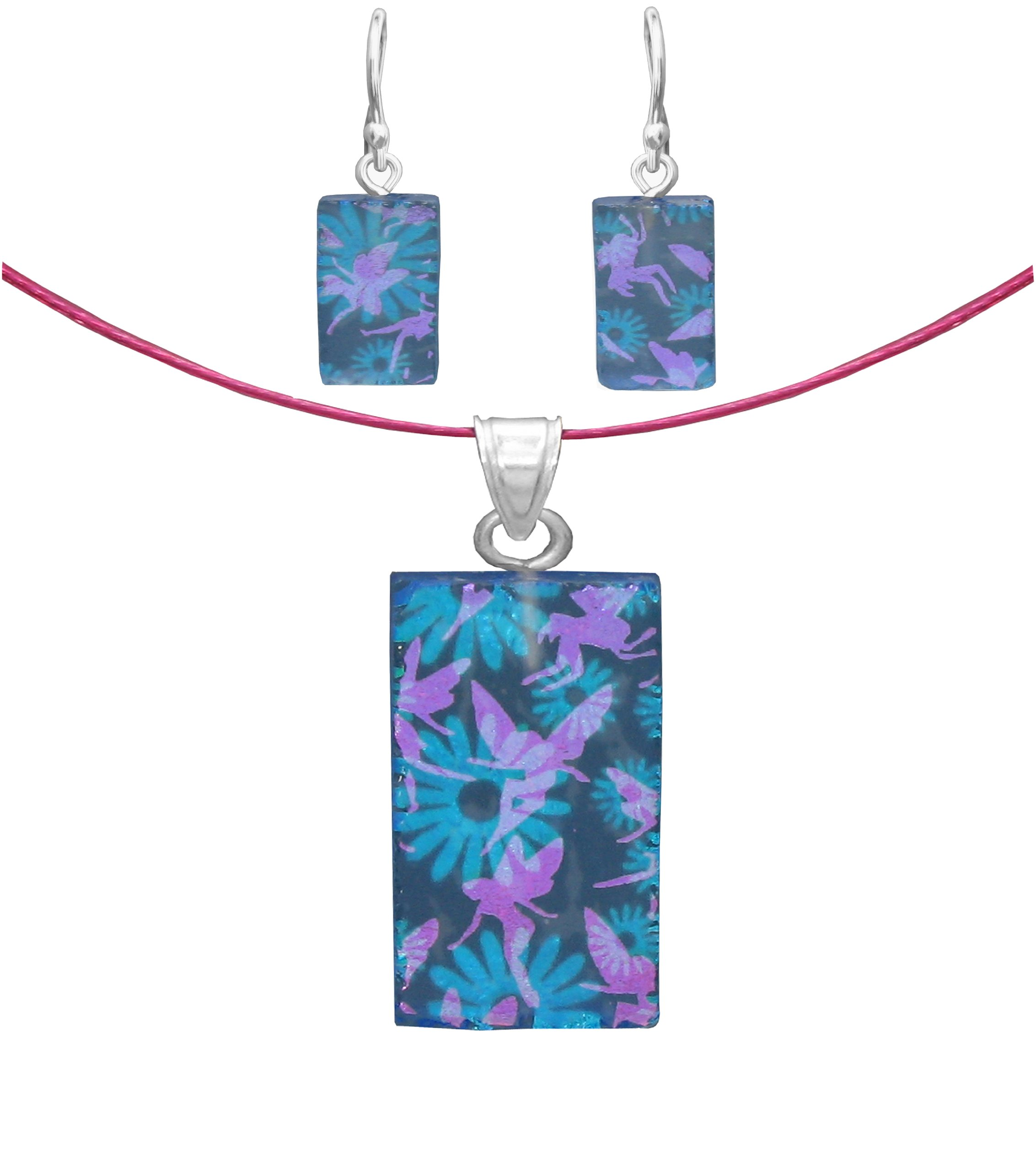 Sterling Silver Dichroic Glass Blue Flower and Pink Fairies Pendant and Earrings Set