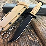 "6"" M-TECH TACTICAL Tan Survival Army FIXED BLADE Mini Neck KNIFE w/ SHEATH"