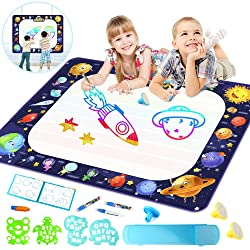"""Growsland Water Drawing Mat Kids Toys - Aqua Magic Doodle Mat Mess Free Space Theme Writing Painting Educational Toy Xmas Gift for Age 2,3,4,5,6 Toddlers Boys Girls 39.4"""" X 27"""""""