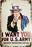ERLOOD I Want You for U.S. Army Retro Vintage Decor Metal Tin Sign 12 X8 Inches