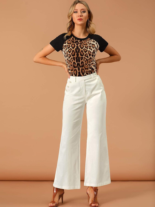 60s Pants, Jeans, Hippie, Flares, Jumpsuits Allegra K Womens Bell Bottom 70s Long Pants High Waist Elegant Work Trousers  AT vintagedancer.com