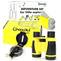 Boxiki Kids Nature Exploration Adventure Toys | 5 PC Outdoor Adventure Set | Compass, Magnifying Glass, Flashlight, Backpack & Binoculars For Kids | Educational Outdoor Toys for Boys & Girls by