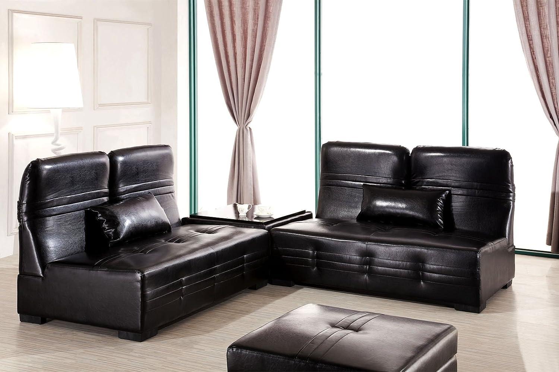 designer ecksofa laura schwarz sofagarnitur 9 in 1 bettfunktion couchtisch lederfaserstoff. Black Bedroom Furniture Sets. Home Design Ideas