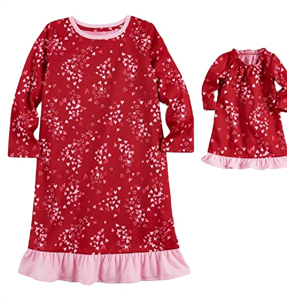 89eba2746163 Amazon.com  Jammies For Your Families Toddler Girl Hearts Nightgown ...