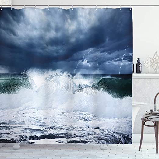 Sunny Horizon and Transparent Water Isolated Beach  Extra Long Shower Curtain