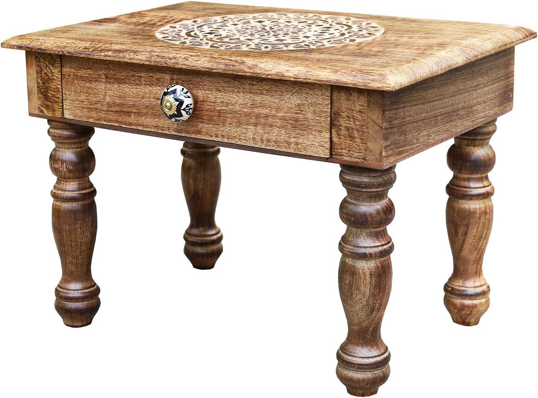 DharmaObjects Solid Mango Wood Hand Carved Puja Shrine Altar Meditation Table (20 X 14 X 14 Inches, Lotus Mandala)