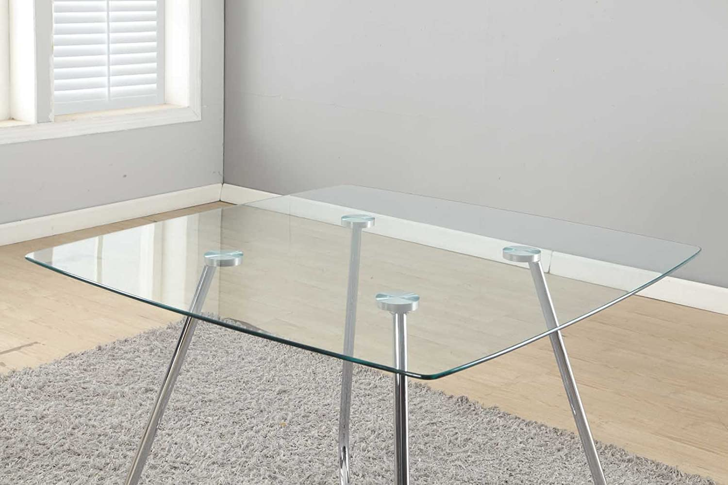 Monarch Specialties Chrome Metal Tempered Glass Dining Table - 8mm-40-Inch