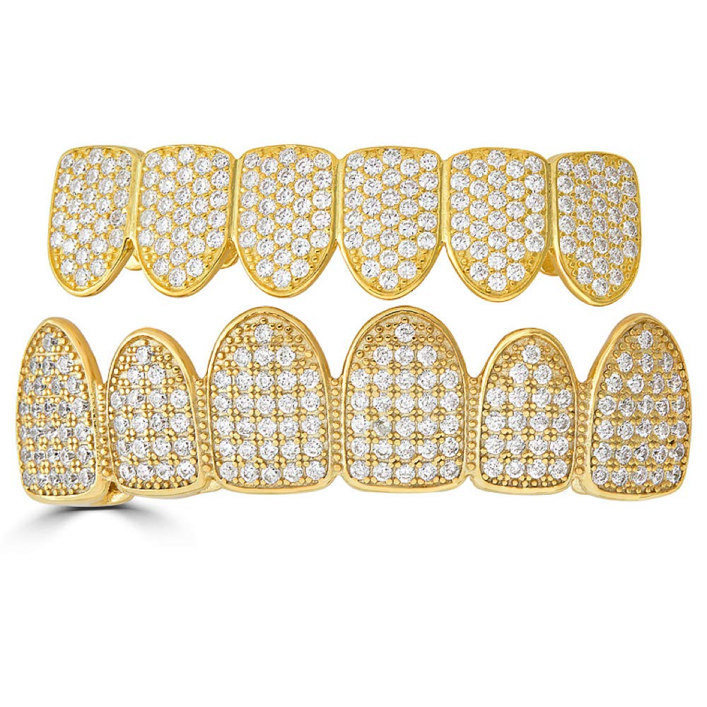 Harlembling Solid 925 Sterling Silver Real Grillz - 14k Yellow Gold Plated - Iced Out CZ - Custom Top & Bottom Grills for Teeth - Real Solid Silver NOT Brass by Harlembling