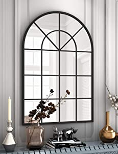 Arched Window Finished Metal Mirror - 32×45 Inch Wall Mirror Black Frame Window Pane Decoration for Living Room Entryway
