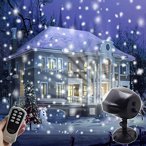 aiderly indoor outdoor led christmas lights snow projector waterproof ip65 security timer snowfall light with remote - Christmas Decoration Projector