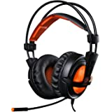 EasySMX SADES Over-ear Wired Stereo Gaming Headset for PC Gamer 3.5mm Jack LED Indicator Lightweight and Comfortable Adjustable Microphone and In-line Controller One-key Mute