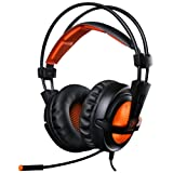 [Father's Day Gift Promotion] EasySMX SADES Over-ear Wired Stereo Gaming Headset for PC Gamer 3.5mm Jack LED Indicator Lightweight and Comfortable Adjustable Microphone and In-line Controller One-key Mute