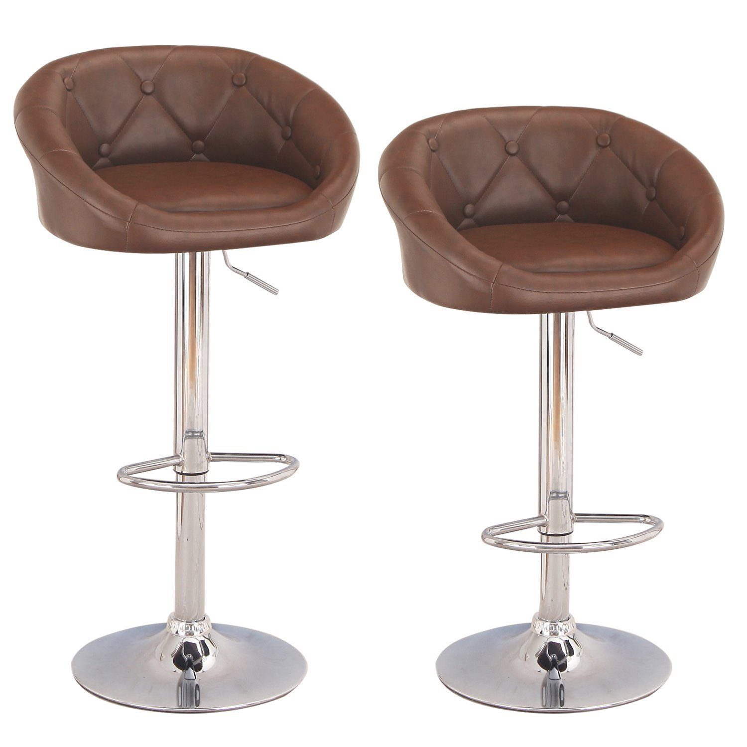 MBTC Delton Cafeteria Bar Stool Chair In Light Brown (Set Of 2 Pcs)