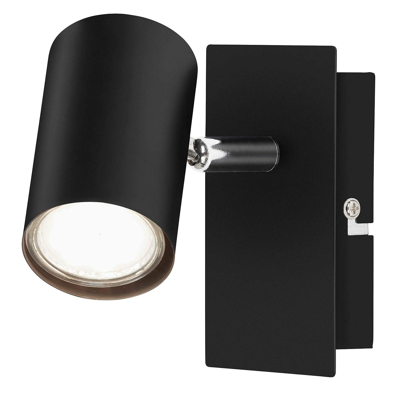 GU10 para 1 bombilla m/áx giratorio 40 vatios negro Briloner Leuchten Foco de pared