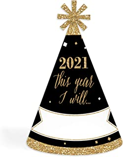 product image for Big Dot of Happiness New Year's Eve - Gold - 2021 Cone New Years Eve Resolution Party Hats for Kids and Adults - Set of 8 (Standard Size)