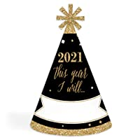 Big Dot of Happiness New Year's Eve - Gold - 2021 Cone New Years Eve Resolution Party Hats for Kids and Adults - Set of 8 (Standard Size)