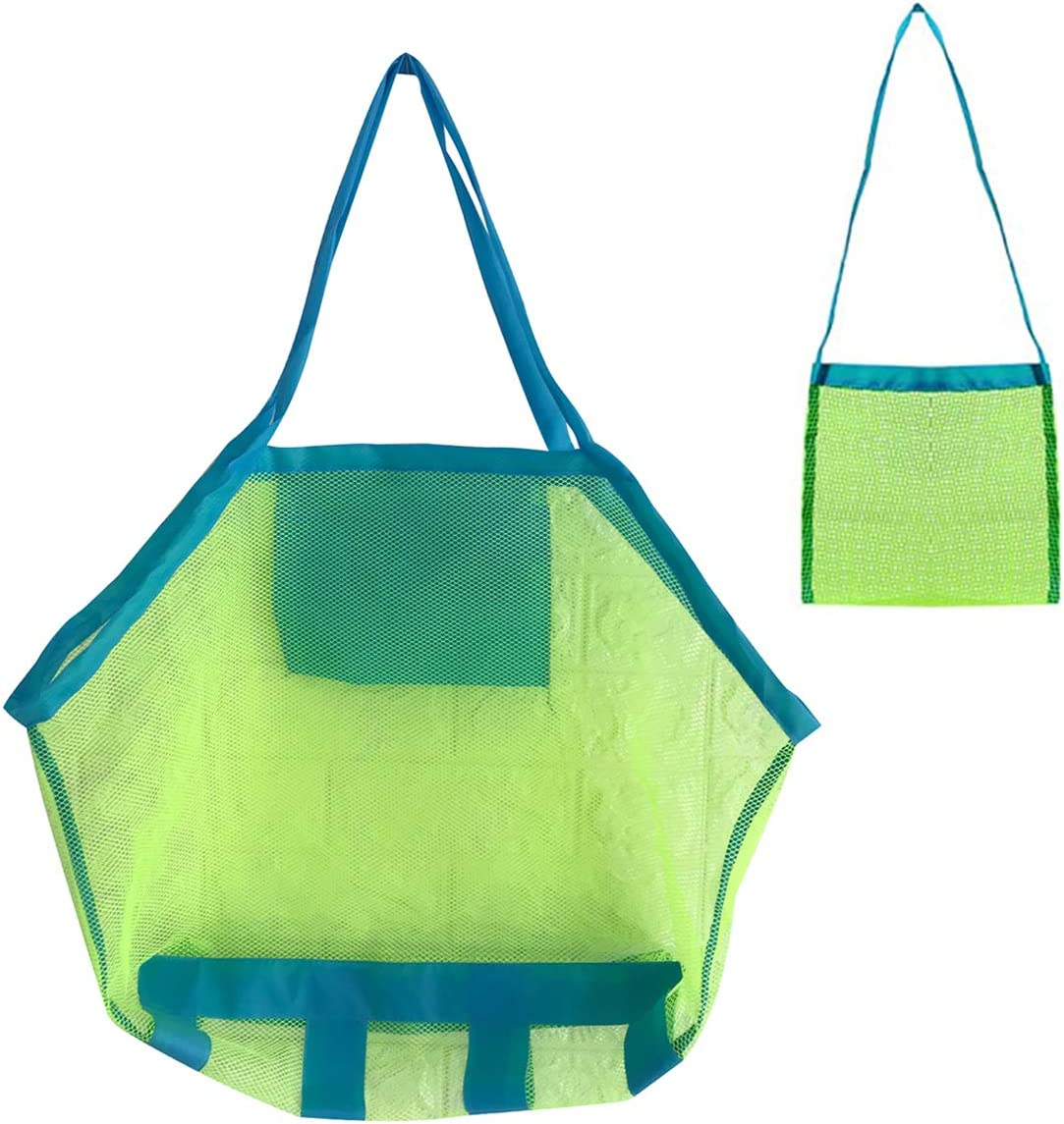 Toys Not Included Afomida Mesh Beach Bag Large Tote Sand Beach Toy Bag Durable Backpack Swim and Pool Kids Toys Balls Drawstring Storage Bags Picnic Packs Water Sand Away