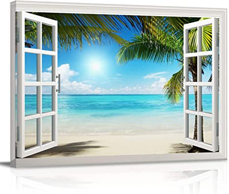 ready to give ready to hang CANVAS wall art gallery stretched giclee art print Seaside