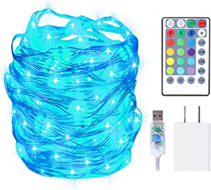 HABOM Led Fairy Lights Plug in,40 Ft 16 Colors Changing String Lights with Remote Control - 4 Lighting Modes+4 Timer Options+Adapter Waterproof Rope Light for Bedroom,Indoor,Outdoor,Christmas Decor