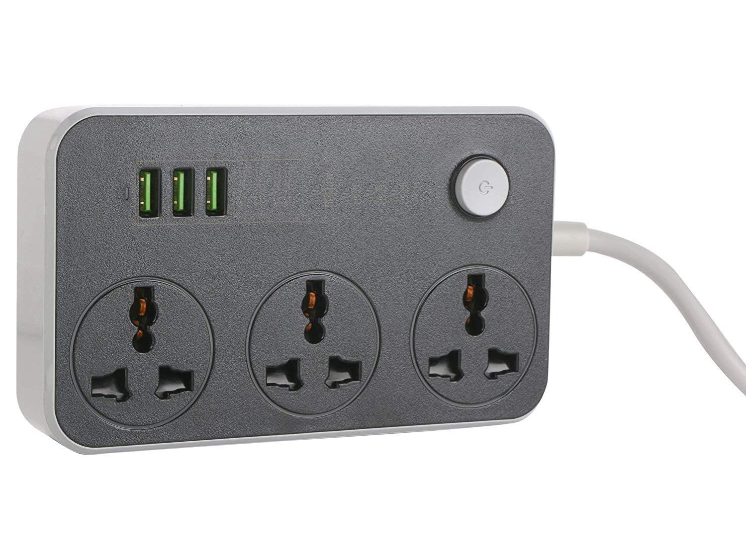 Haau Extension Board with USB Ports Long Cord Universal Socket 3 Outlets Surge Protector 3 Quick USB Charging Ports