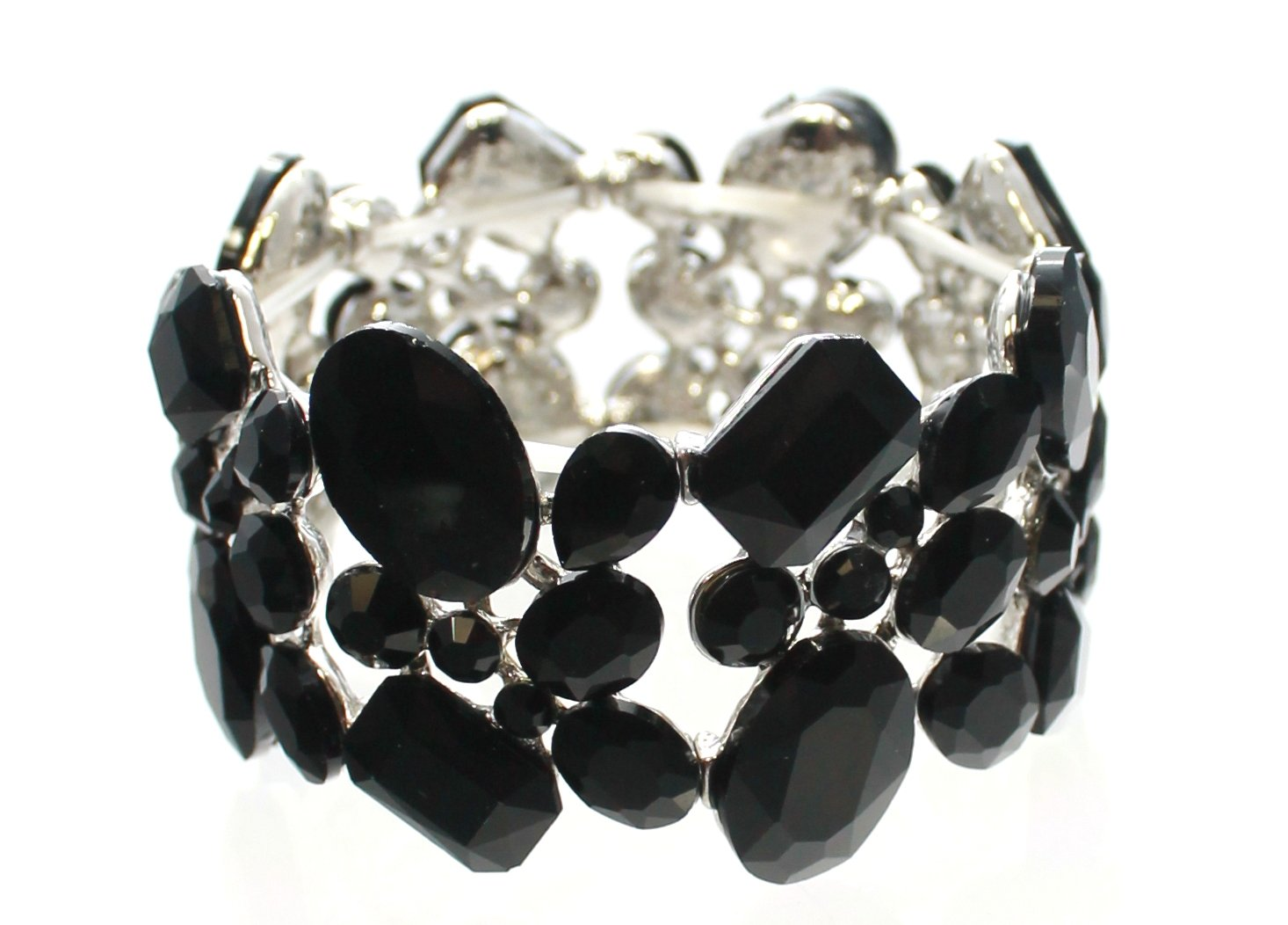 Carole Fay Jewelry Striking Black on Silver Stretch Bracelet, fits almost every wrist! Perfect for both Prom and Pageant, as well as any Special Occasion!